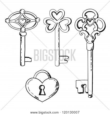 keys illustration in vector. Black and white
