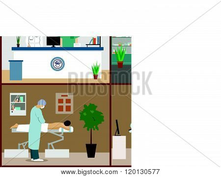 Vector banners set with patients, doctors and hospital interiors. Health care medicine concept. Flat