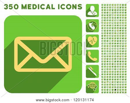 Envelope Icon and Medical Longshadow Icon Set