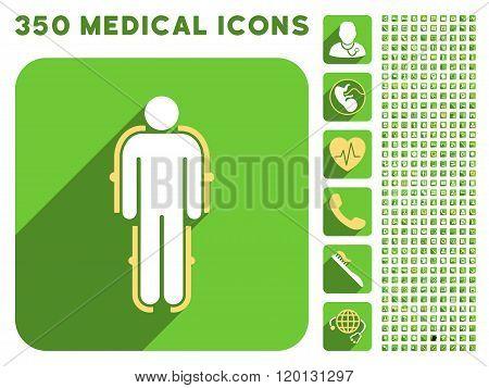 Exoskeleton Icon and Medical Longshadow Icon Set