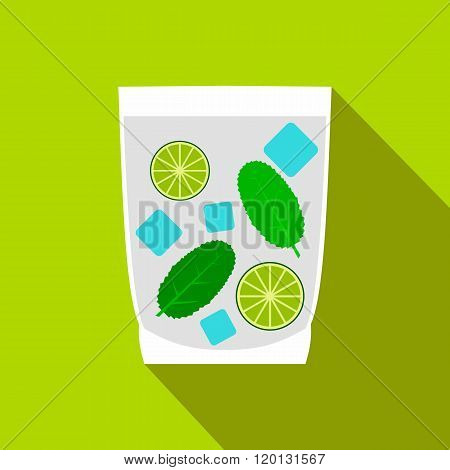Caipirinha cocktail drink icon, flat style