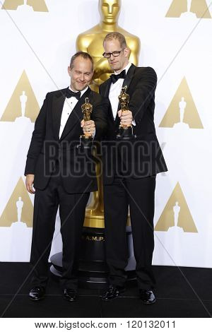 LOS ANGELES - FEB 28:  Jonas Rivera, Pete Docter at the 88th Annual Academy Awards - Press Room at the Dolby Theater on February 28, 2016 in Los Angeles, CA