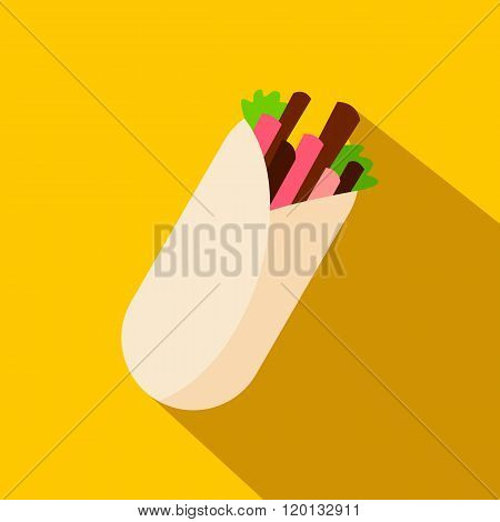 Tortilla wrap with meat and vegetables icon, flat style