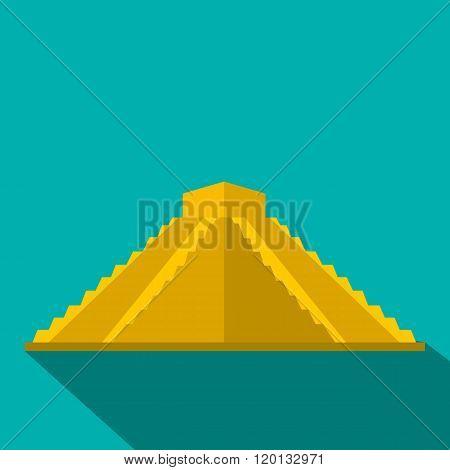 Mayan pyramid in Yucatan, Mexico icon, flat style