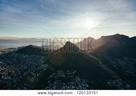 Aerial View Of Cape Town City On Sunny Day