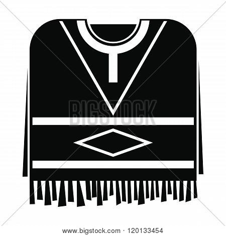 Mexican poncho icon, simple style