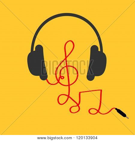 Headphones With Treble Clef, Note Red Cord. Music Card. Flat Design Icon. Yellow Background