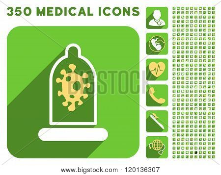 Infection Condom Protection Icon and Medical Longshadow Icon Set