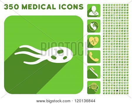 Intrude Microorganism Icon and Medical Longshadow Icon Set