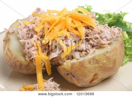 Jacket potato with tuna mayonnaise and grated cheese