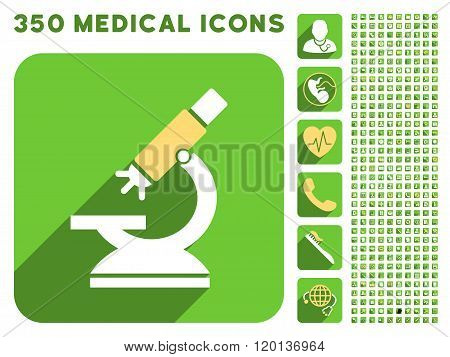 Labs Microscope Icon and Medical Longshadow Icon Set