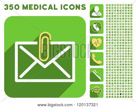 Mail Attachment Icon and Medical Longshadow Icon Set