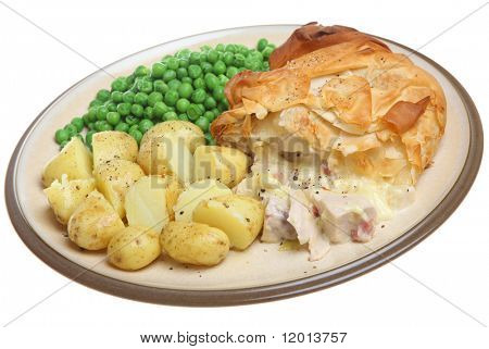 Chicken and bacon pie with new potatoes and peas.