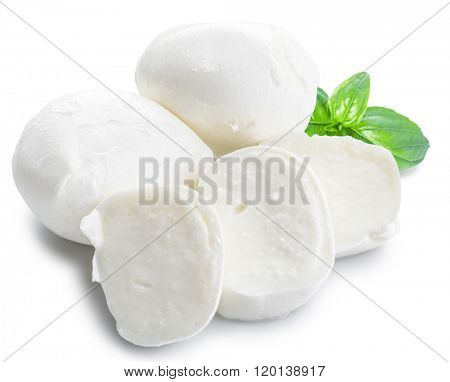 Mozzarella and basil. White background.