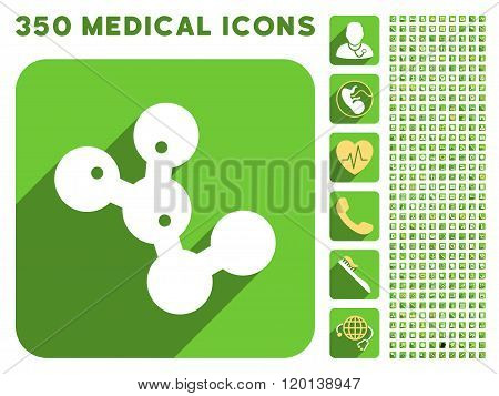 Microbes Colony Icon and Medical Longshadow Icon Set