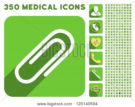 Paperclip Flat Icon And Medical Longshadow Flat Icons