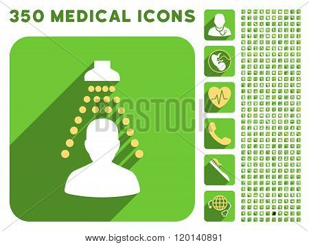 Patient Disinfection Flat Icon And Medical Longshadow Flat Icons