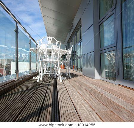 Modern penthouse apartment balcony
