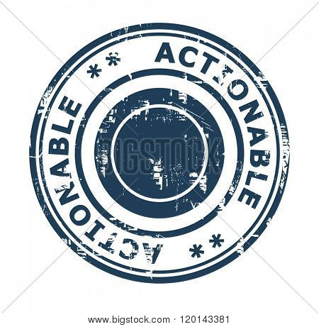 Actionable business concept stamp isolated on a white background.