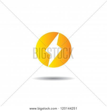 Lightning In Circle Logo Vector Template