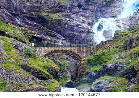 Waterfall And Bridge At Trollstigen
