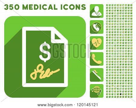 Signed Invoice Flat Icon And Medical Longshadow Flat Icons