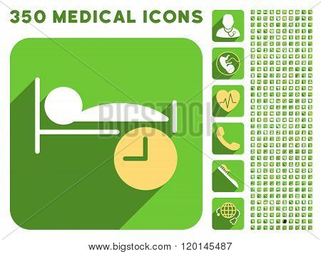 Sleep Time Icon and Medical Longshadow Icon Set