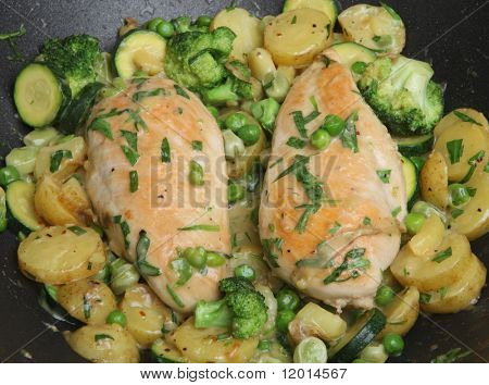 Stir-fried chicken breasts with vegetables