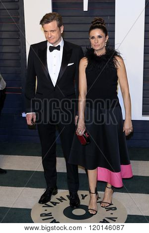 LOS ANGELES - FEB 28:  Colin Firth, Livia Giuggioli at the 2016 Vanity Fair Oscar Party at the Wallis Annenberg Center for the Performing Arts on February 28, 2016 in Beverly Hills, CA