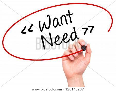 Man Hand Writing Want - Need With Black Marker On Visual Screen.