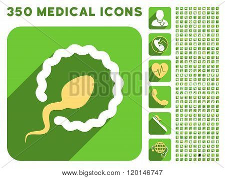 Sperm Penetration Flat Icon And Medical Longshadow Flat Icons