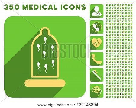 Sperm Protection Icon and Medical Longshadow Icon Set