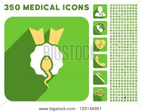 Sperm Winner Icon and Medical Longshadow Icon Set