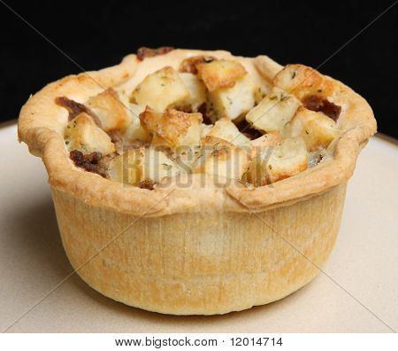 Individual meat pie with potato topping.