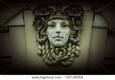 Beautiful Woman Head,old Architectural Decoration,art Nouveau Style