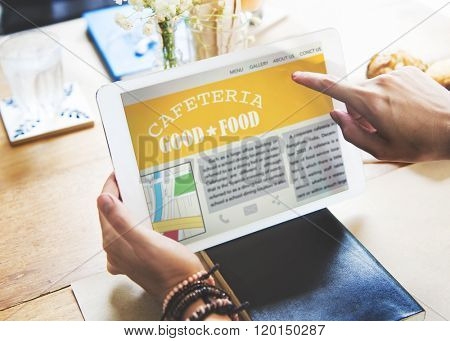 Cafeteria Good Food Critic Review Tablet Technology Concept