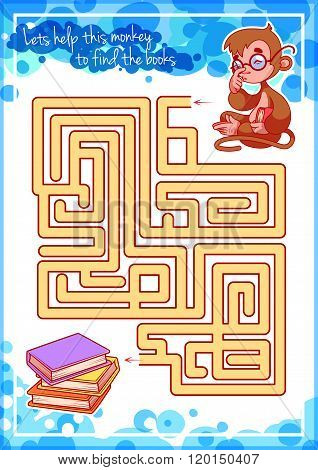 Maze Game For Kids With Monkey And Books.