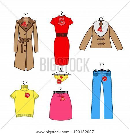 Set of vector icons of women's clothes