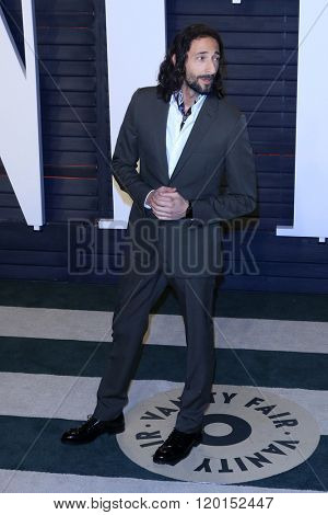 LOS ANGELES - FEB 28:  Adrien Brody at the 2016 Vanity Fair Oscar Party at the Wallis Annenberg Center for the Performing Arts on February 28, 2016 in Beverly Hills, CA