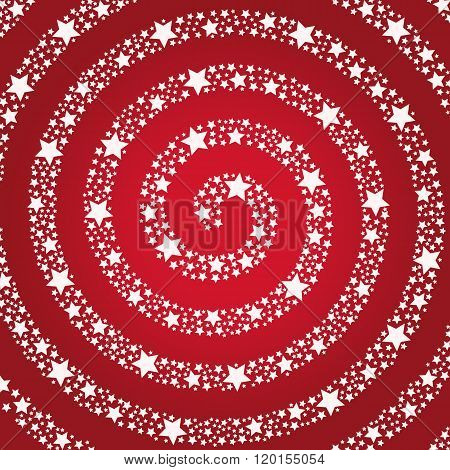 Spiral of the stars on a red background.