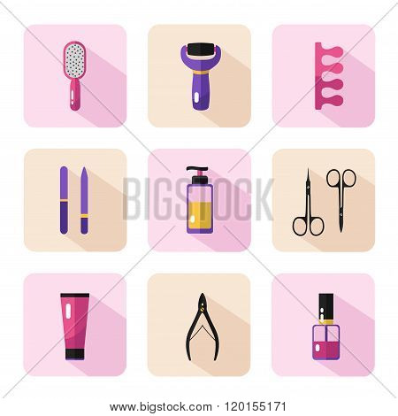 Icons set of pedicure procedure