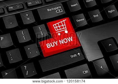 Keyboard with red buy now online shopping theme button