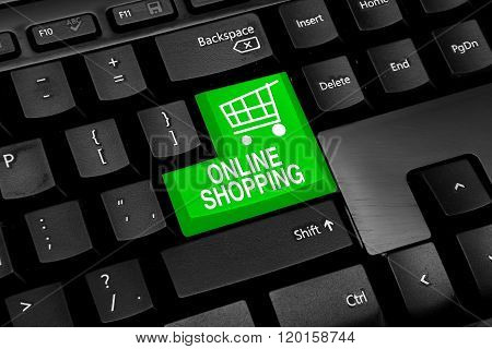 Keyboard with green online shopping theme button
