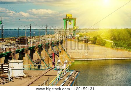 Hydroelectric power station, the river Dnepr, Dneprodzerzhinsk, Ukraine