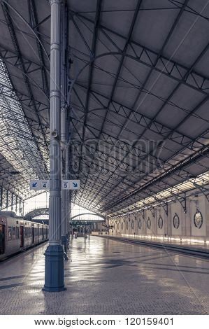 LISBON, PORTUGAL - APRIL 2, 2013: Rossio Railway Station