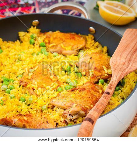 Chicken Thigh And Rice Biryani With Green Peas