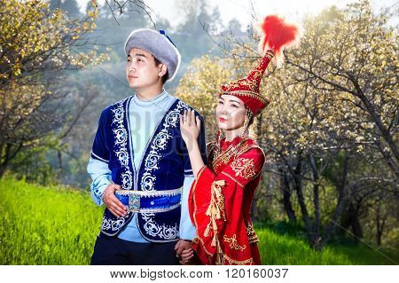 Kazakh Couple In Ethnic Costume