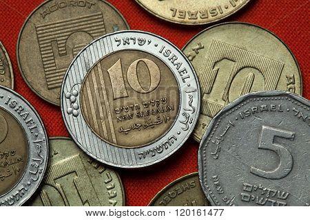 Coins of Israel. Israeli ten new shekels coins.