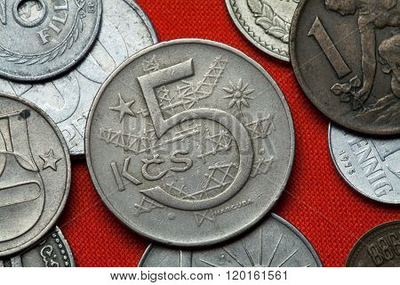 Coins of Czechoslovakia. Czechoslovak five koruna coin (1966) coined in the Czechoslovak Socialist Republic.