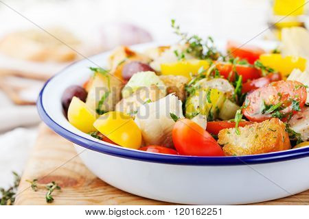 Traditional healthy Panzanella salad with fresh tomatoes and crispy bread